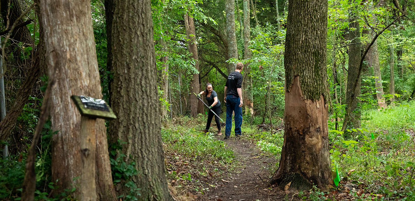 Service-Learning Project aims to Restore Trail Near Biology Pond